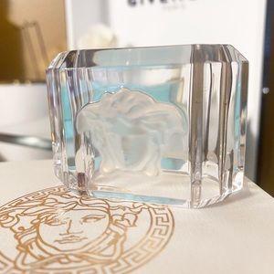 Auth Versace Rosenthal Crystal Medusa Napkin Cube